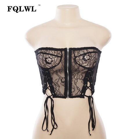 Strapless Black Mesh Zipper Sleeveless Backless Crop Camis Lace Top