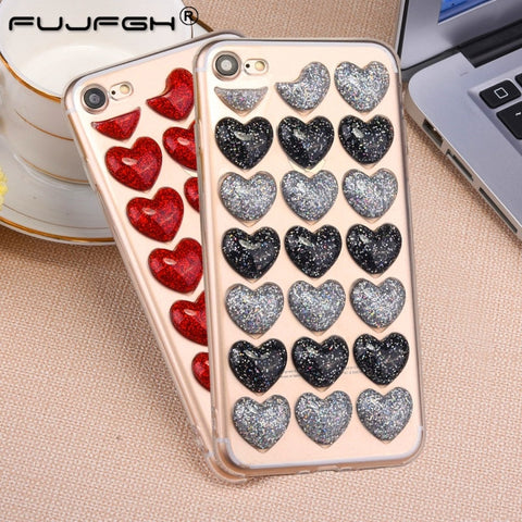 3D Glitter Love Heart Korean Clear Silicon Body Case SE