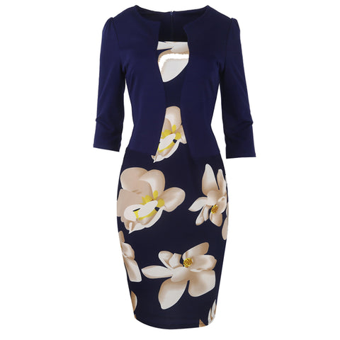 Women Fall One Piece Patchwork Floral  Dresses