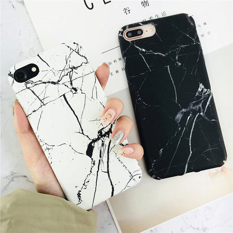 9111d5be443dba Fashion Black White Marble Hard PC phone Cases For iphone 7 case For iPhone  8 7Plus
