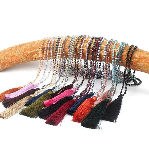 Boho Long Fringe Tassel Necklace RI
