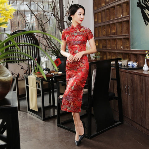 d17f3fb7fa4 Red Satin Traditional Chinese Dress SE