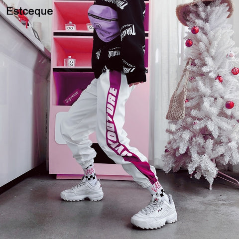 06124845e Hip Hop Letter Striped Jogger Harem Pants SE