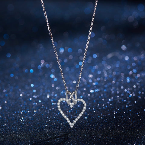 Love Heart Silver Pendant Necklaces SE