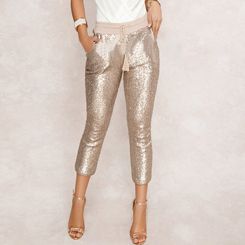 Sequin Black/Gold Drawstring Waist Pencil Pants RI