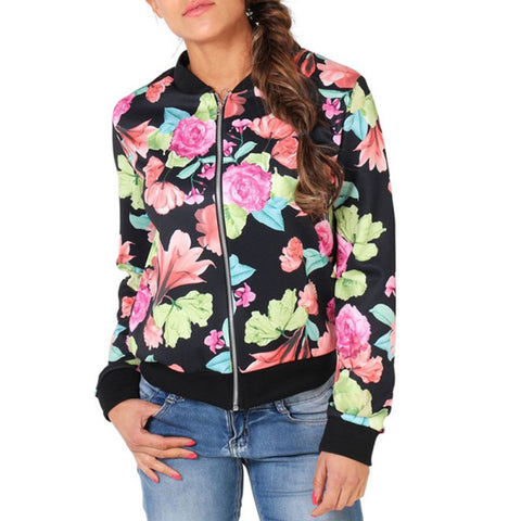 Jacket Floral Printed Zip Top