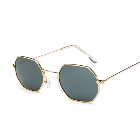 Vintage Hexagon Metal Frame Clear Lens Sunglasses RI