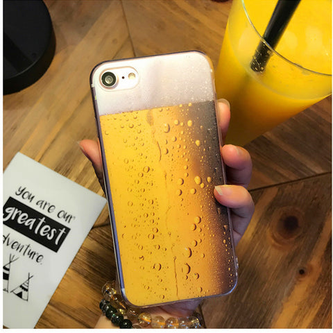 Fashion Ultra Thin Soft Silicone Phone Case For Apple iPhone 7 6 6S 8 Plus Beer Design Clear Back Cover For iPhone 5 5S SE Coque