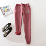 Pants Casual Warm Sweatpants Elastic Waist Cotton Sweat