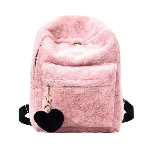 Faux Fur Plush Backpack Shoulder Bag Fluffy PU22