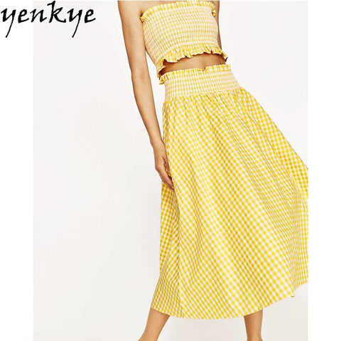 Yellow Plaid Two Piece Set Off Shoulder Crop Top PU22