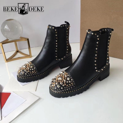 Punk Rivets Stuuded Leather Shoes Block Heels Ankle Boots SE