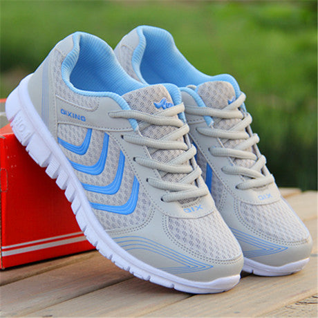 Shoes casual breathable Walking mesh lace up flat sneakers