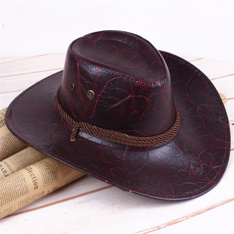 Leather Cowboy Cap Man Hat SE