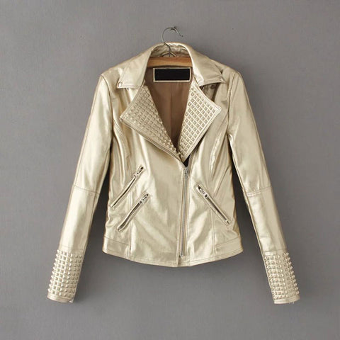 Jacket Women Stud/rivet Moto Biker Zip