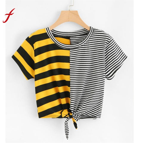Short Sleeve O-Neck Stripe Bow T-Shirts Crop Top SE