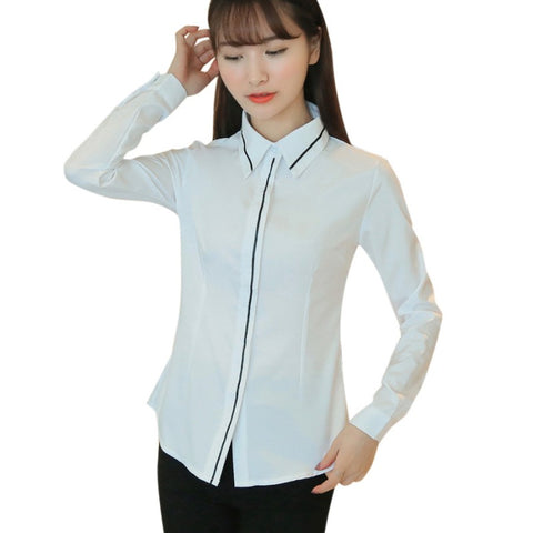 689a48caf22d07 Black Bow Tie White Blouses Chiffon Collar Shirt Tops