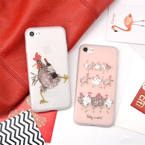 For iPhone 7 Case for iPhone 6 6s Case Chicken Drink Beer Silicone Soft Matte Cover for 7 6s Plus Phone