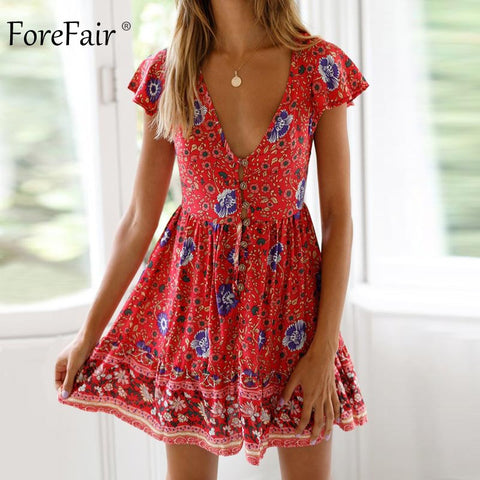 Floral Short Sleeve Pleated Button Beach Dress RI