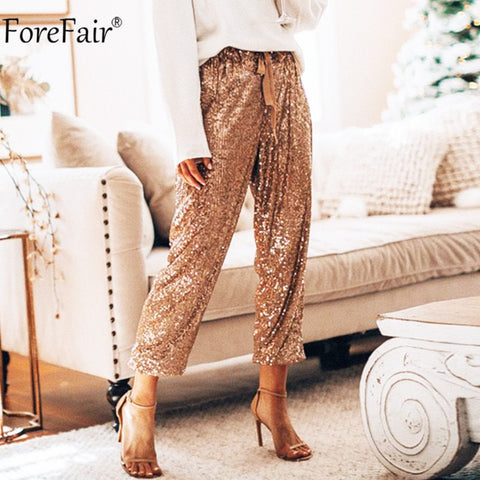 Sequins High Waist Glitter Pants RI