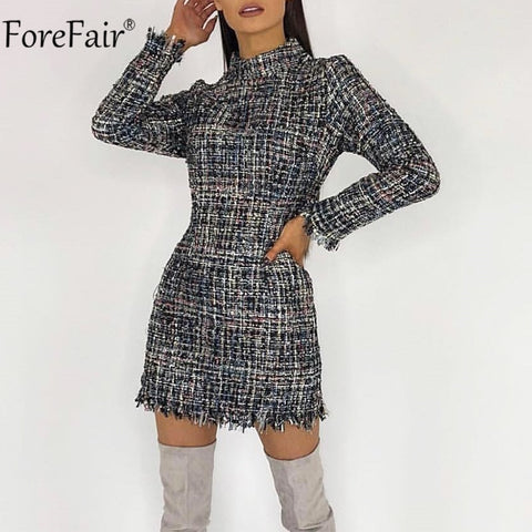 Turtleneck Plaid Tweed Long Sleeve Mini Dress RI