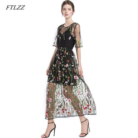 Flower Embroidery Lace Mesh Dress Two Pieces RI 4d1847640050