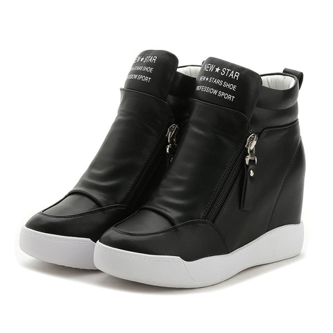 Women Shoes with increased platform sole female fashion casual zip botas