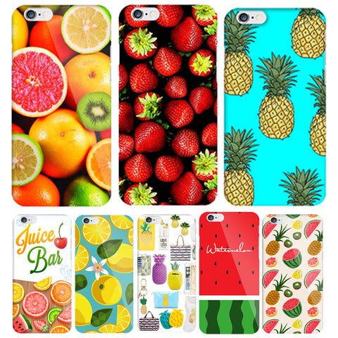Funny Summer Fruit Strawberry Pineapple Hard Cover For coque iphone 7 8 Plus 6 6s 5s SE Phone Cases Watermelon Lemon