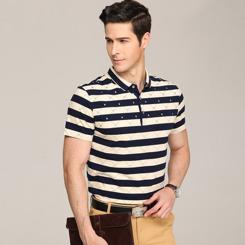 f9f6cd68f3d Men Polo Shirts Embroidery Horse Cotton Brand Print Striped Polos