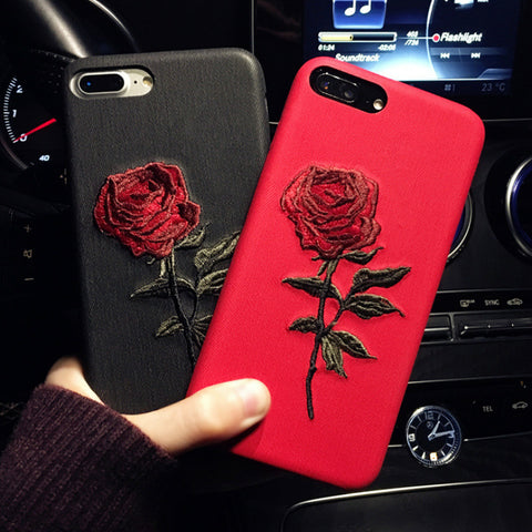 GETIHU Embroidery Rose Case For iPhone X 7 8 6 6S Plus Cover Capa Coque For iPhone 7 6 8 Case 360 Degree For iPhone7 7Plus Cases
