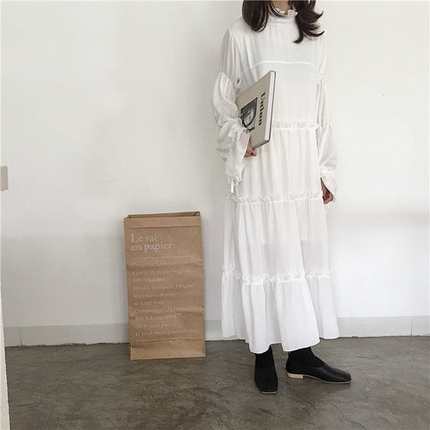White Chiffon Normal Ruffle Long Sleeve Loose Dress