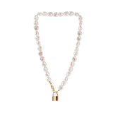Gold Chain Pearl Padlock Necklace RI