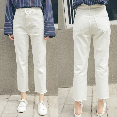 Preppy High Waist Ankle Length Wide Leg Ripped Jeans Pants