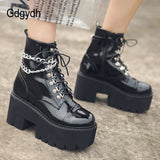 Leather Gothic Black Heel Chain Chunky Platform Boots SE