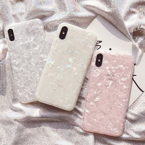 Glossy Marble Case For iphone Bling Conch Shell Silicone Shockproof Glitter SE