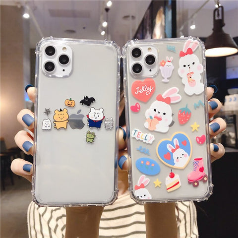 Graffiti bear silicone cover funda puppy bear transparent Case for iphone SE