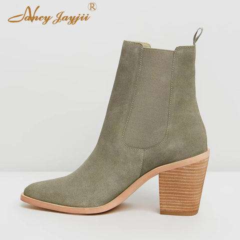 Wood Block Heels Pointed Toe Green Ankle Boots RI