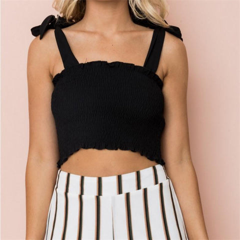 65a27c0c20c Bow Tie Strap Ruched Crop Tank Top