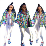 Colorful Letter Print Thick Bubble Coat Puffer Jacket Parkas SE