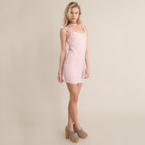 Hollow Out Sleeveless Bow Tie Up Off Shoulder Bodycon Slim Mini Strap Dress