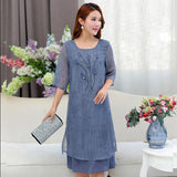 Dresses High Quality Middle Age Mother Summer Long
