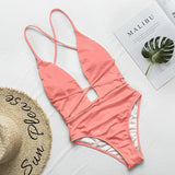 halter neon bikini deep v-neck swimsuit RI