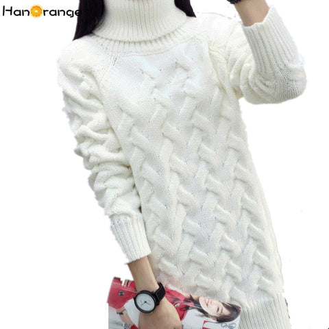 Turtleneck Knit Thick Loose Twist Long Sweater