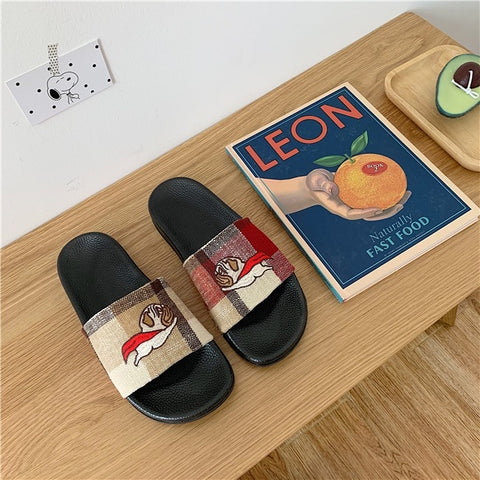 Harajuku Dog Pug Animal Shoes Cute Cartoon Slippers Sandals SE