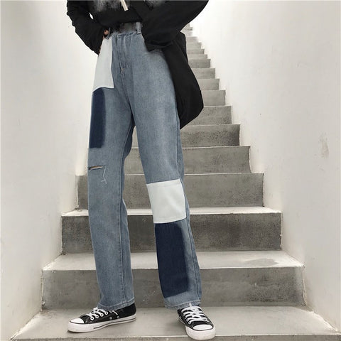 Ripped Straight Pockets Patchwork Jeans Pants SE
