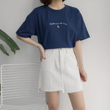T shirts Moon Embroidery