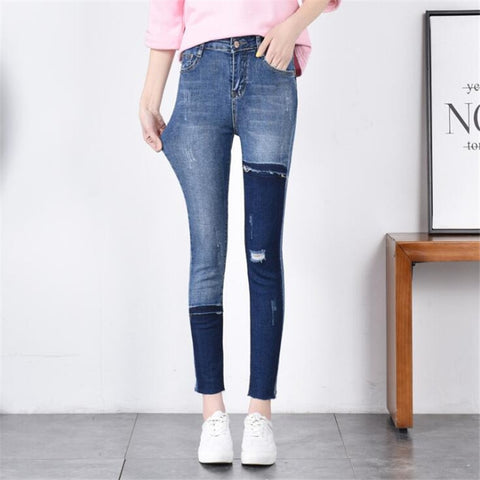 High Waist Elasticity Jeans Color Patchwork Denim Pants SE