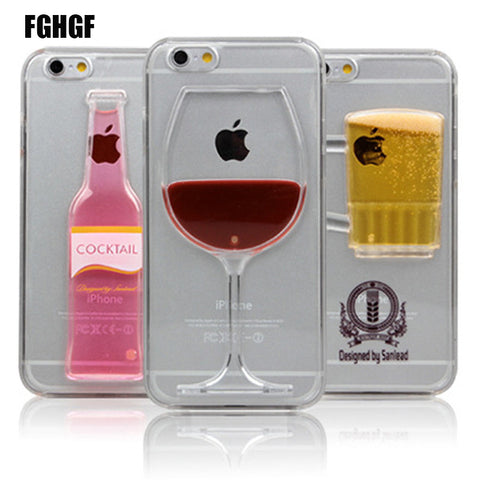 High Sales Red Wine Cup and Beer Bottle Liquid Transparent Case Cover For Apple iPhone 6 6S 7 7plus Case