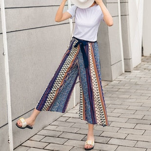High Waist Belt Sashes Boho Vintage Floral Loose Pants SE