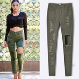 Army Green Jeans Ripped Pants SE